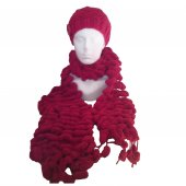 Bobble Scarf and Hat - Red