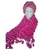 Candy Pink Bobble Scarf and Hat