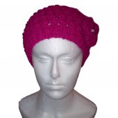 Pink patterned hat with attached flower and pearl - Joss Style h