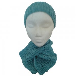 Teal Hat and Short Scarf