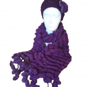 Bobble Scarf and Hat - Purple
