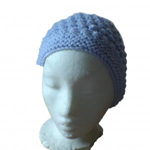 Pale blue front and pale fluffy crown patterned hat - 2 tone hat