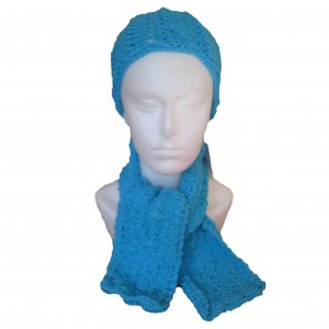 Turquoise Smal Size Hat and Scarf Set