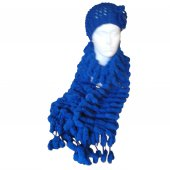 Bobble Scarf and Hat - Royal Blue